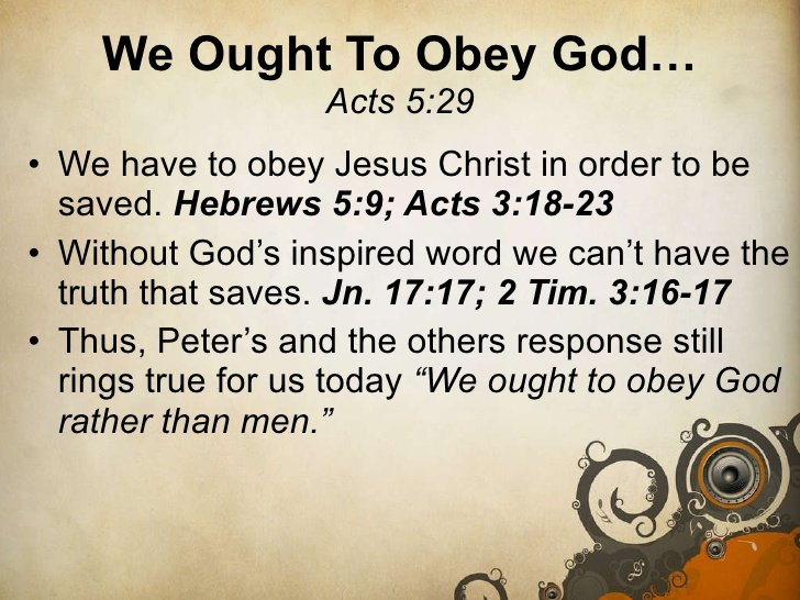 """Thoughts for April 28th: """"WE MUST OBEY GOD RATHER THAN MEN"""""""
