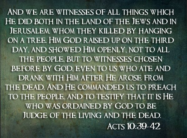 """Thoughts for May 2nd. """"WE ARE WITNESSES OF ALL THAT HE DID"""""""