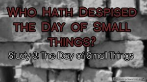 Who hath despised the day of small things Study 3: The Day of small things Video post