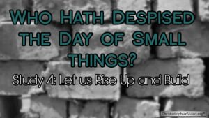 Who hath despised the day of small things Study 4 Rise up and Build  Video post