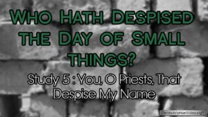 Who hath despised the day of small things Study 5   You o Priests that despise my name' Video post