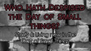 Who hath despised the day of small things Study 6  Living today in the day of small things Video post