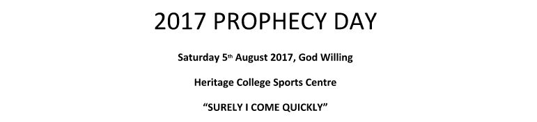 Adelaide 2017 Bible Prophecy Day Study Series